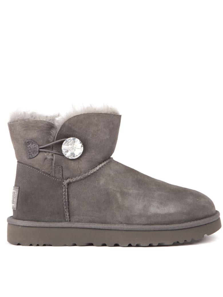 UGG Grey Mini Bailey Suede Ankle Boots - Grey