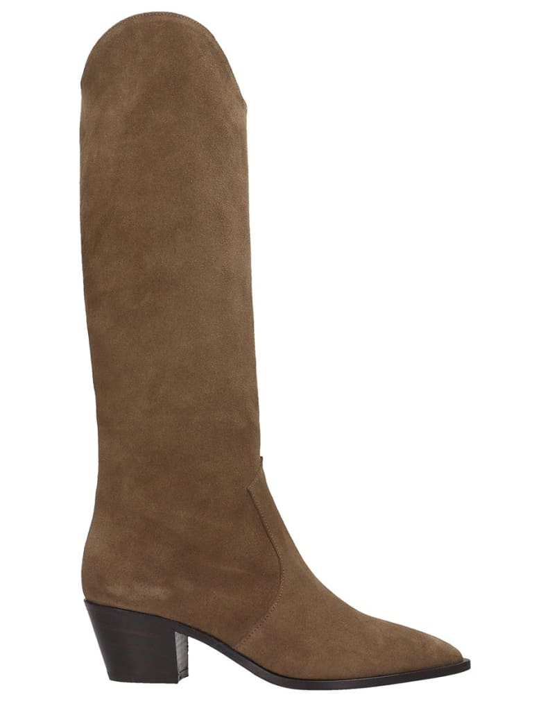 The Seller Boots In Beige Suede - beige