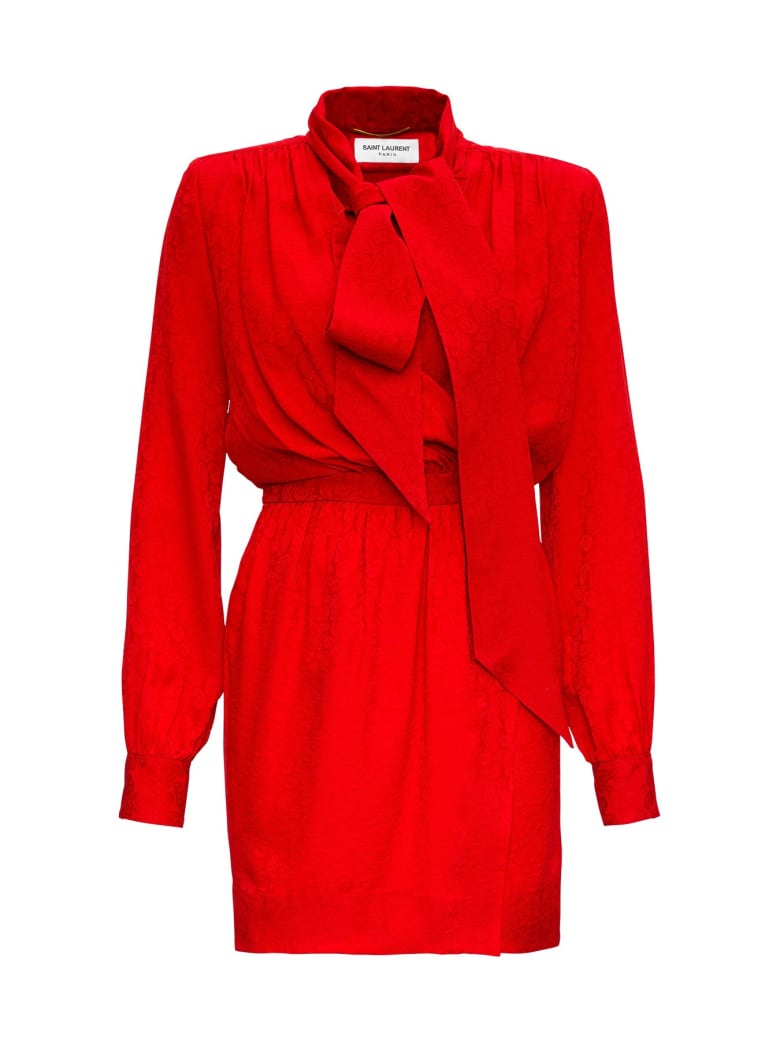 Saint Laurent Dress In Jacquard Silk With Lavelliere Neck - Red