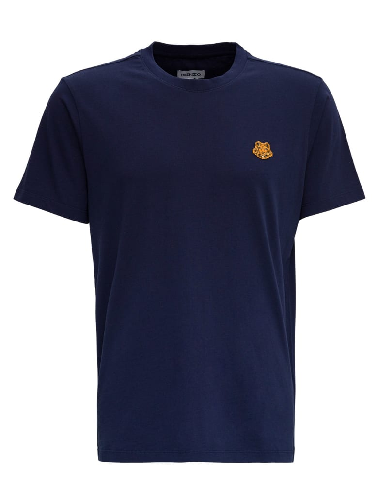 Kenzo Cotton T-shirt With Tiger Patch Logo - Blu