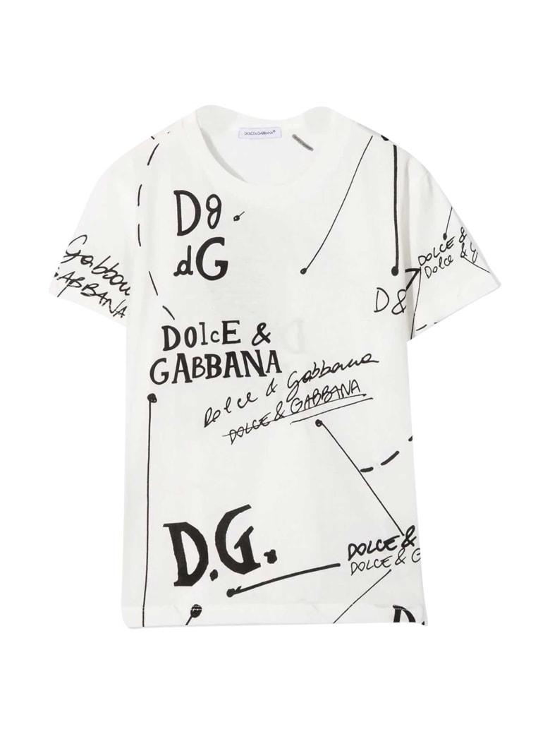 Dolce & Gabbana White T-shirt With Black Print Dolce&gabbana Kids