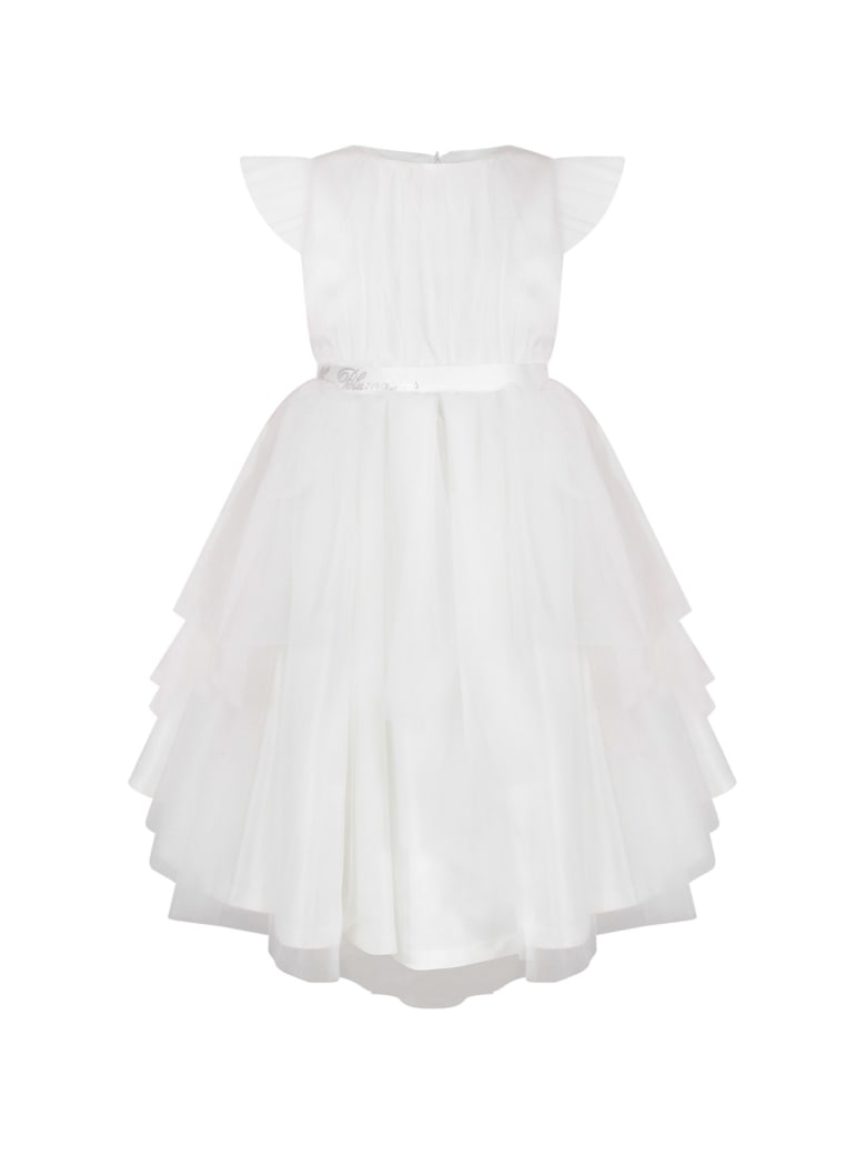 Blumarine White Dress For Girl With Logo - White