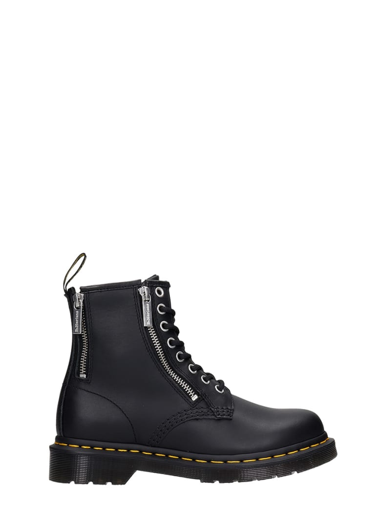 Dr. Martens 1460 Zip Combat Boots In Black Leather - black