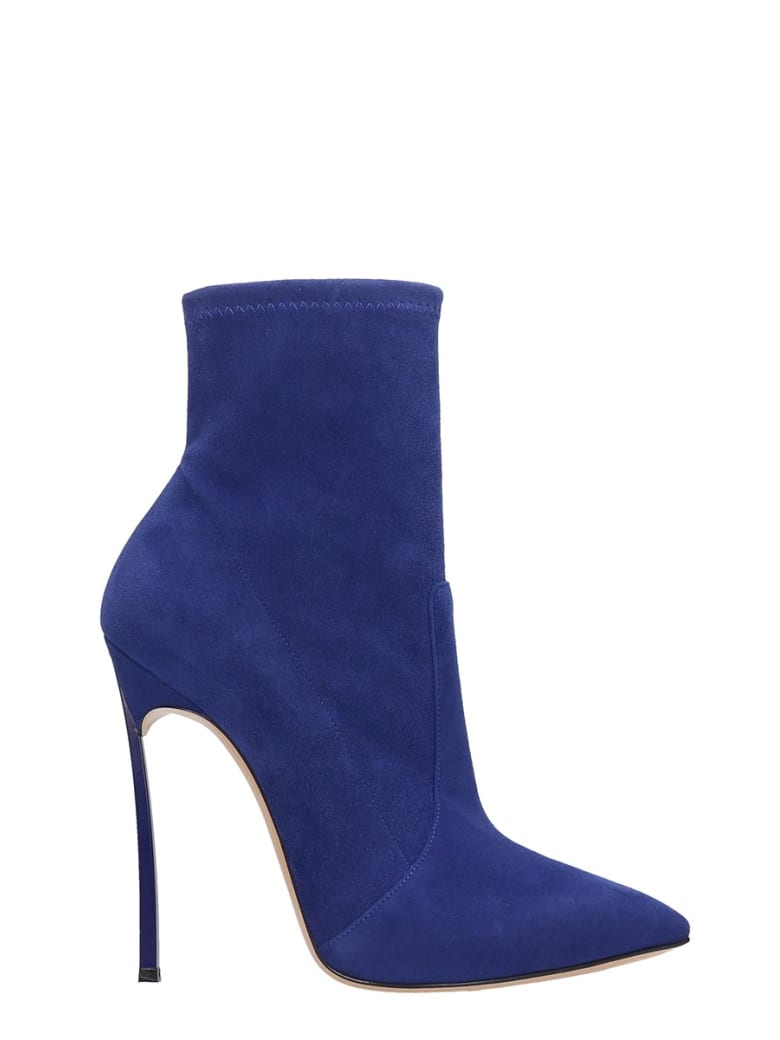 Heels Ankle Boots In Blue Suede