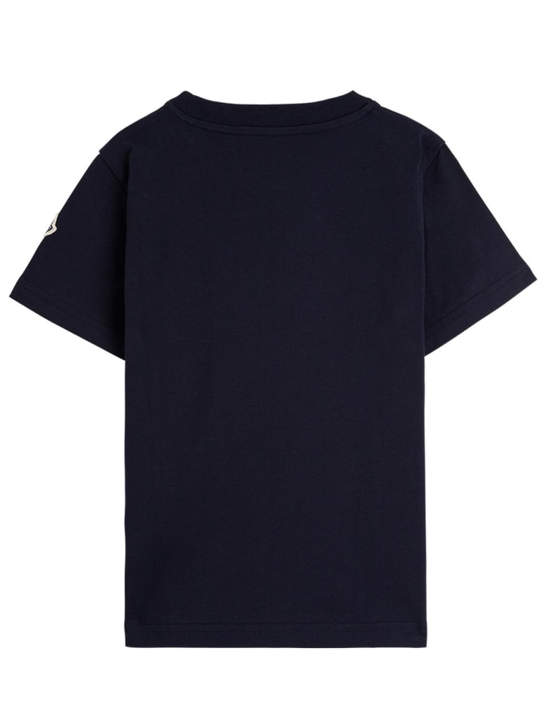 Moncler Blue Jersey T-shirt With Maxi Logo