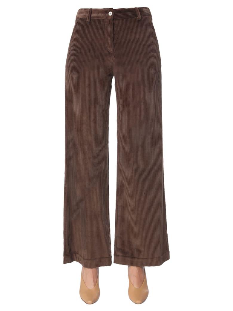 Jejia Ribbed Velvet Pants - MARRONE