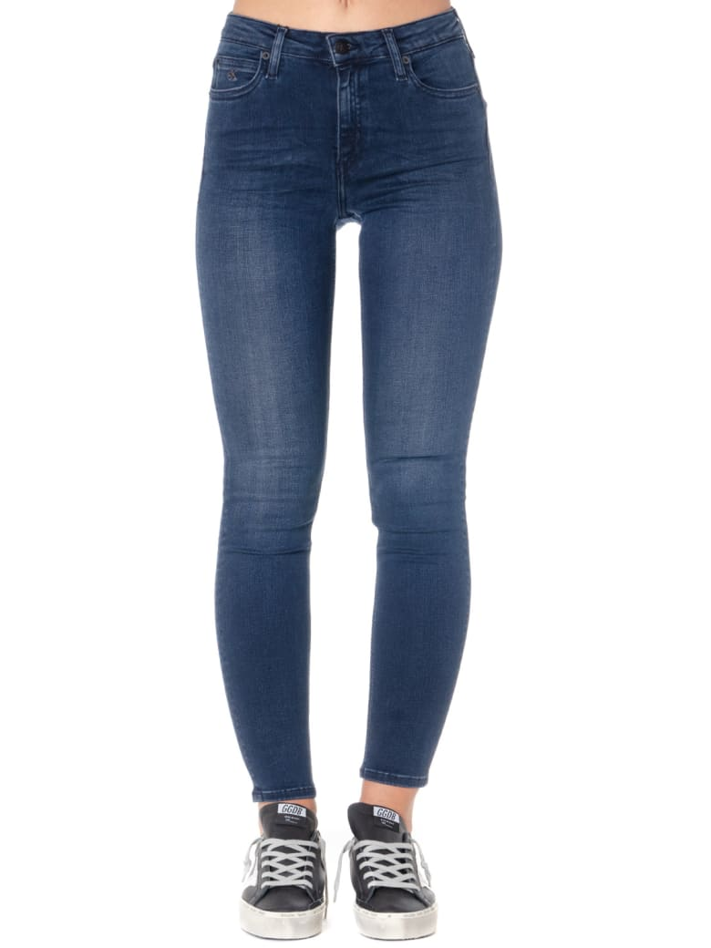 Calvin Klein Dark Blue Cotton-blend Skinny Fit Jeans - Blue