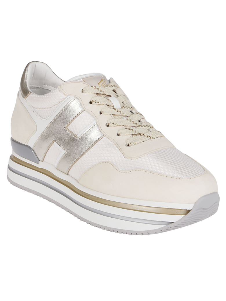 Hogan White Leather H222 Sneakers - WHITE GOLD