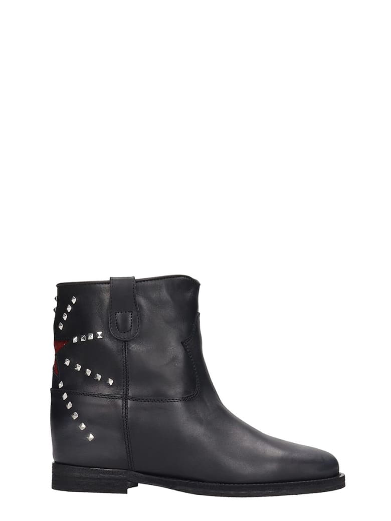 Via Roma 15 Low Heels Ankle Boots In Black Leather - black
