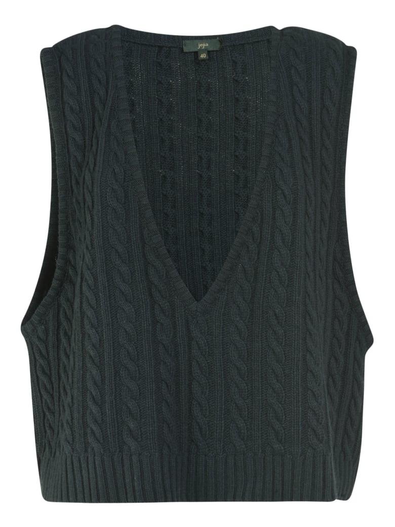 Jejia Braid Knit Vest - Dark Green