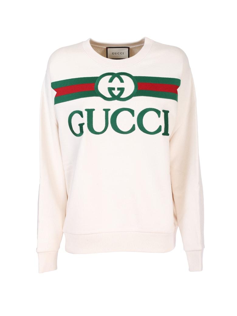 Gucci white cotton jersey sweatshirt - Bianco