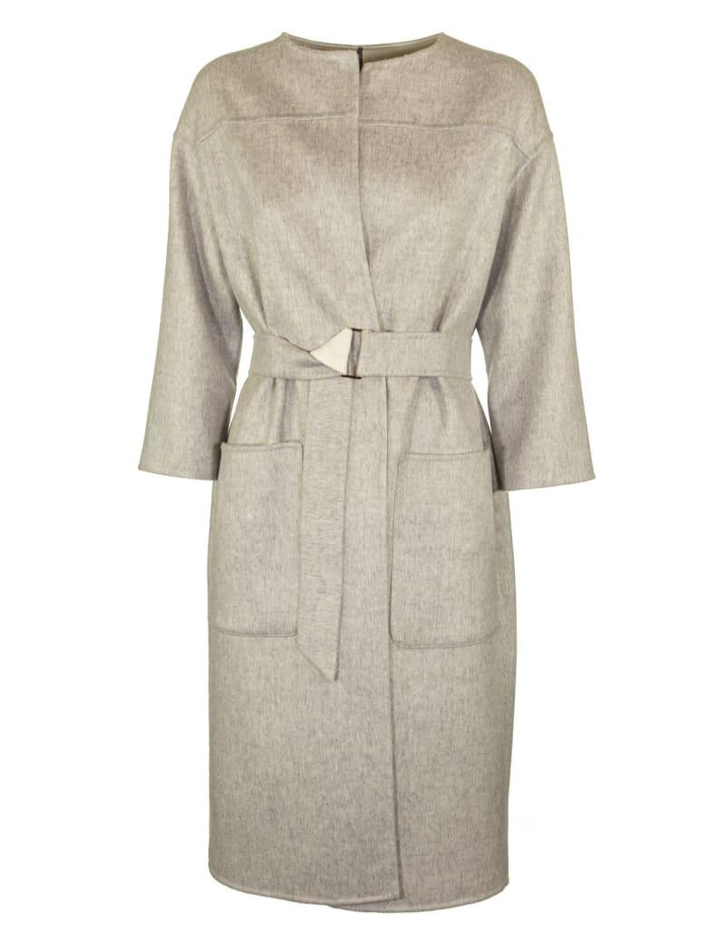 Agnona Cashmere Coat Round Neck - Grey / Ivory
