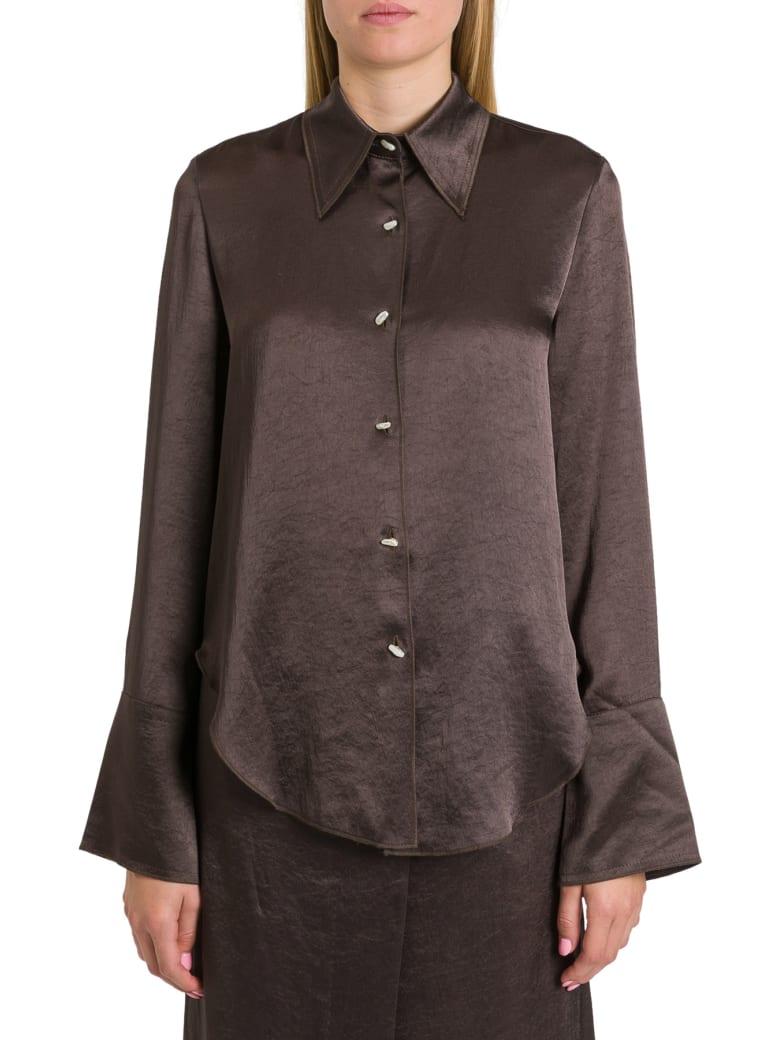 Nanushka Mandine Shirt In Washed Satin - Marrone