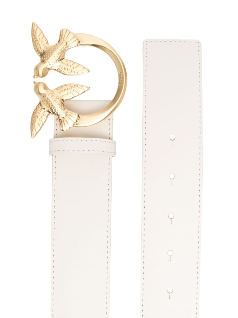 Pinko Love Berry Belt In White Leather With Logo Buckle - White