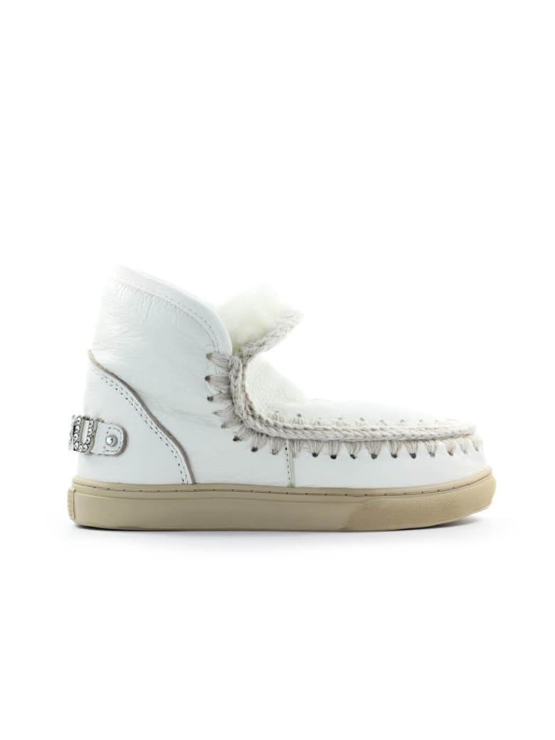 Mou Eskimo White Leather Rhinestones Logo Sneaker - Bianco (White)