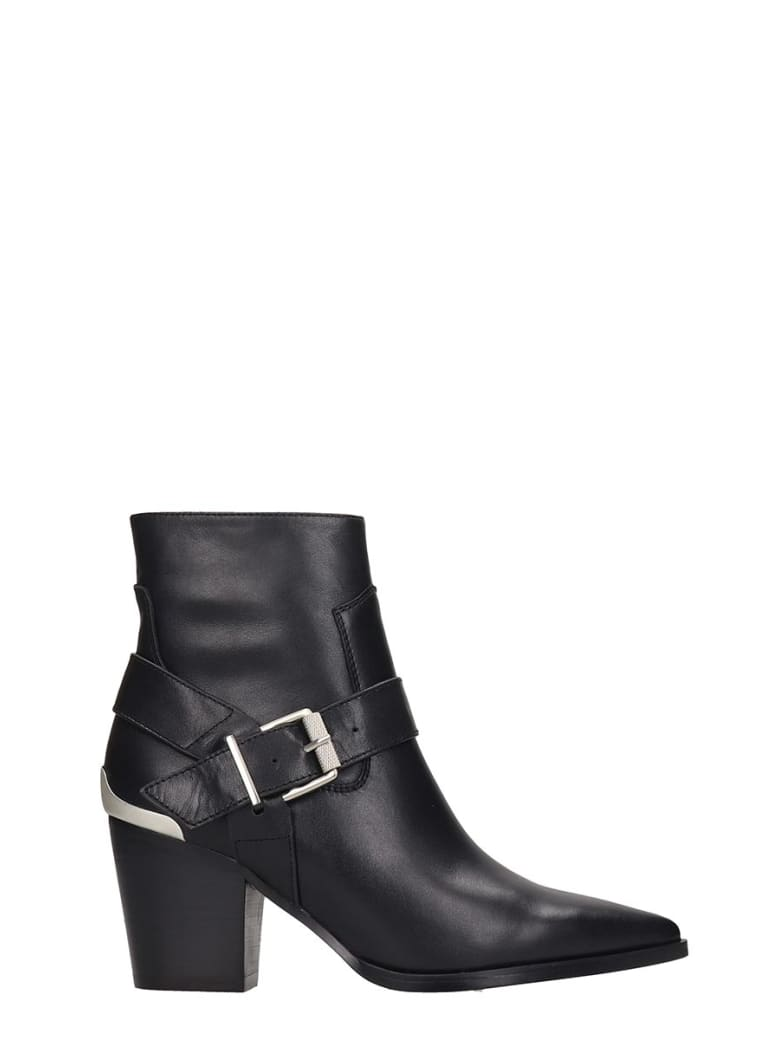 Bibi Lou High Heels Ankle Boots In Black Leather - black