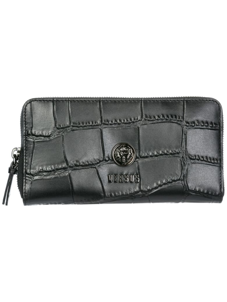 Versus Versace  Wallet Genuine Leather Coin Case Holder Purse Card Lion Head - Black - Gun Metal