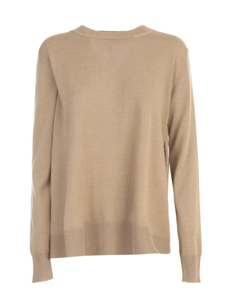 Nuur Round Neck Open Sides 100% Merino Wool Sweater - Cammello