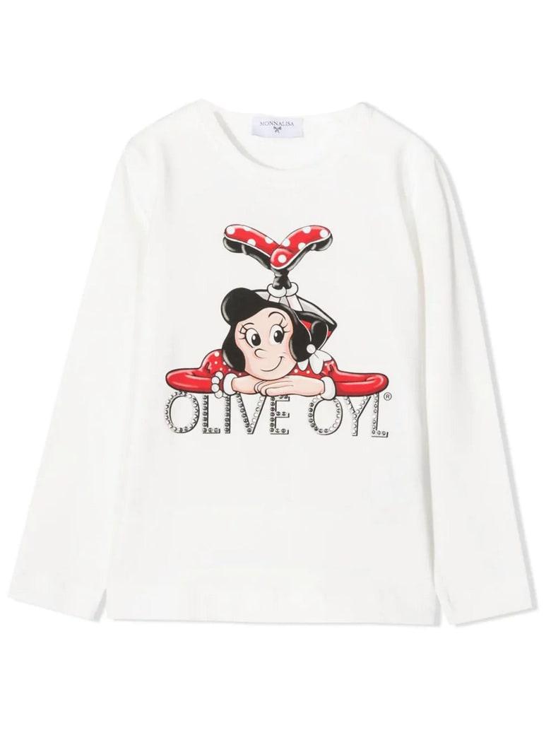 Monnalisa Olive Oyl Cotton T-shirt - Panna