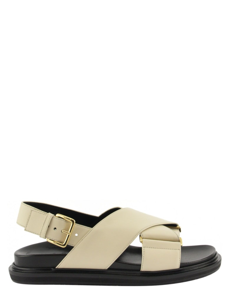 Marni Criss-cross Fussbett In White Leather Sandals - Silk White