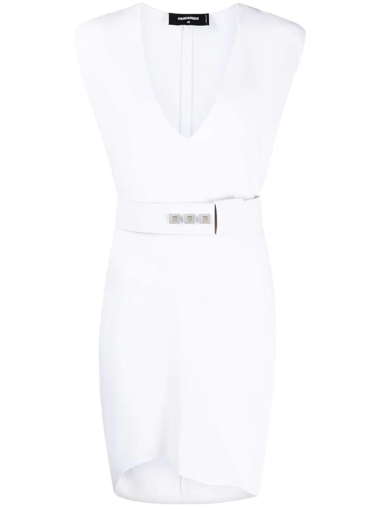 Dsquared2 White Belted Dress - Bianco