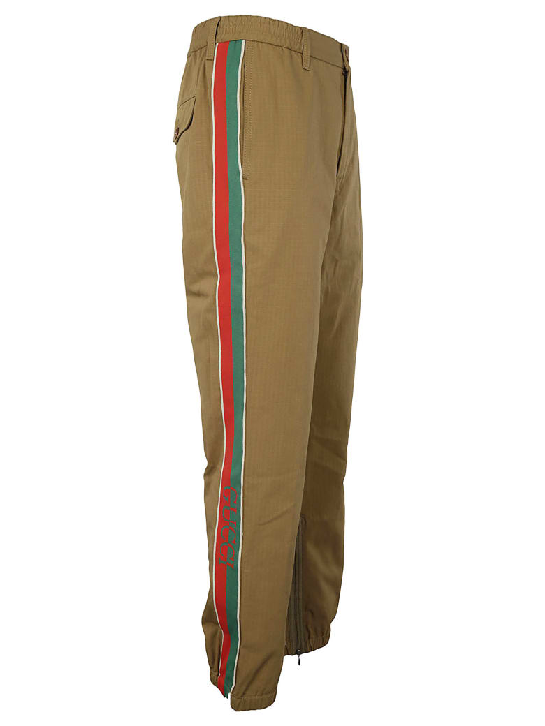 Gucci Side Stripe Logo Trousers - Sand Mix