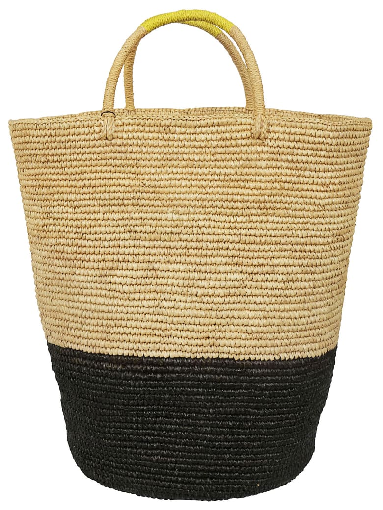 Sensi Studio Weaved Classic Tote - Yellow/caramel/black