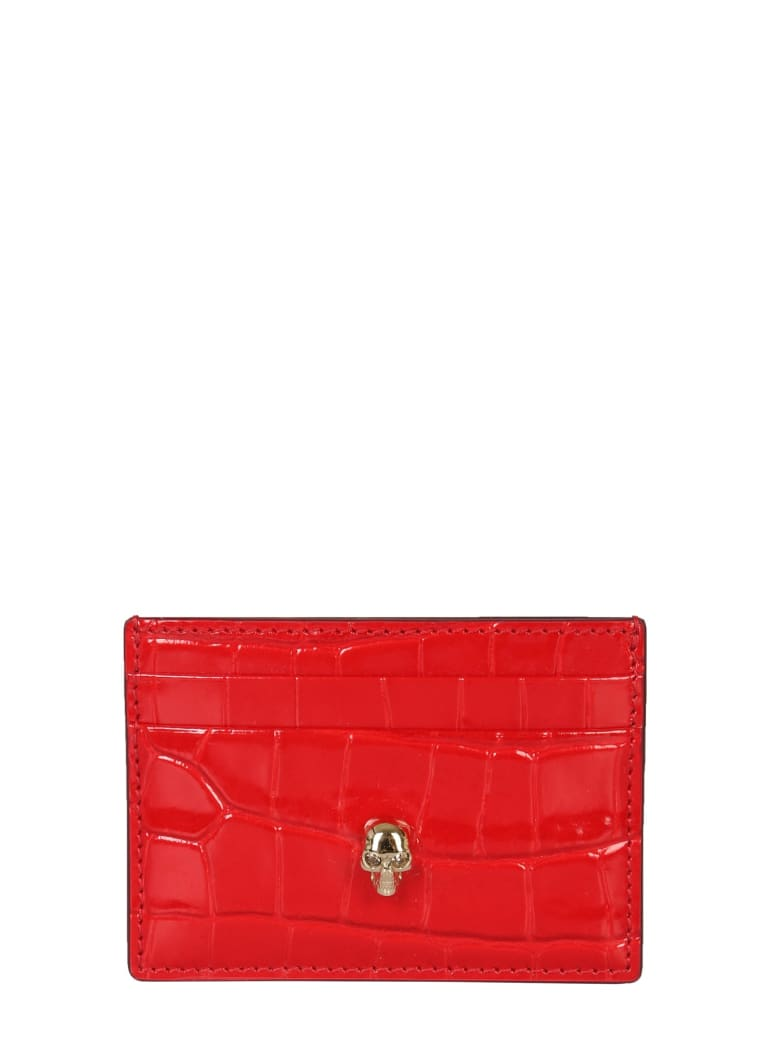 Alexander McQueen Card Holder With Skull - RED
