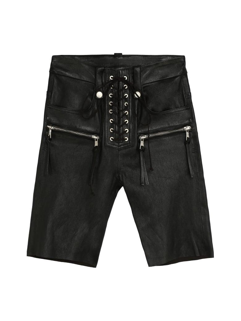 Ben Taverniti Unravel Project Leather Cyclist Shorts - black