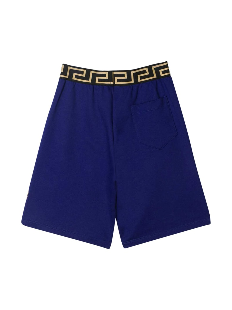 Young Versace Blue Shorts With Golden Details - Bluette/oro