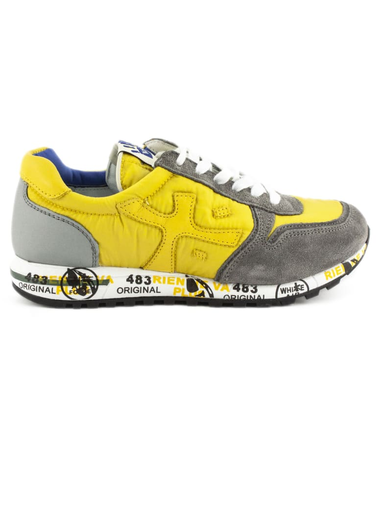 Premiata Sneaker In Grey Suede Upper And Yellow Nylon - Giallo+grigio