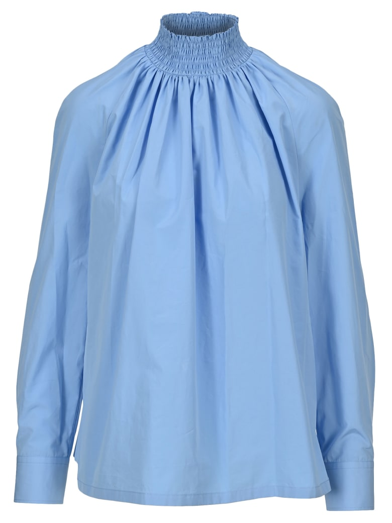 Prada High Neck Blouse - LIGHT BLUE