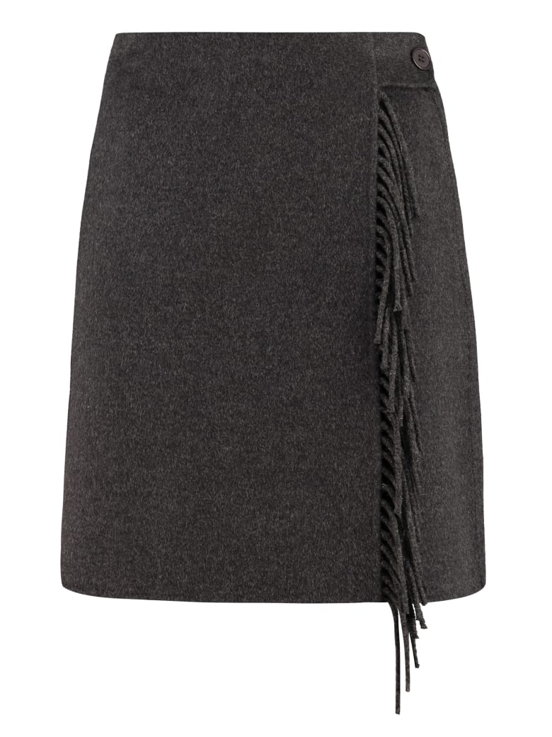 Parosh Wool Wrap Skirt - grey