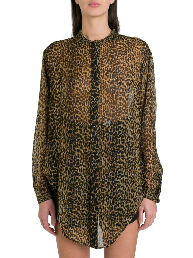 Saint Laurent Oversized Tie-up Shirt In Leopard-print Wool Etamine - Multicolor