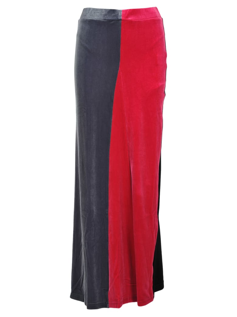 Y/Project Y/project Colour Block Velvet Skirt - MULTICOLOUR