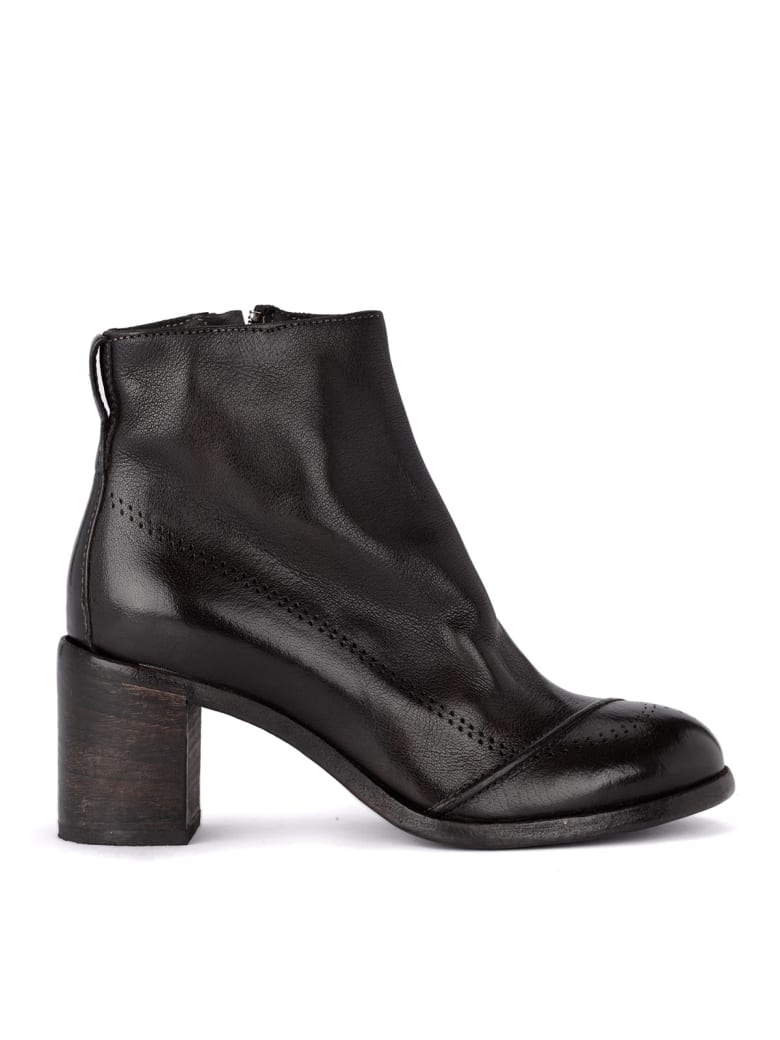 Moma Bufalo Dark Brown Leather Ankle Boots - MARRONE