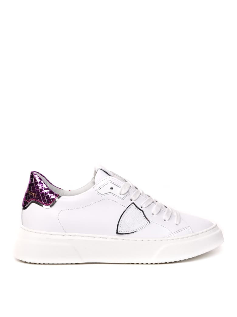 Philippe Model Temple S Sneakers In White And Fuchsia Leather - White/fuchsia