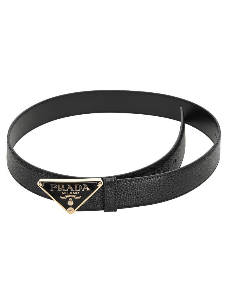 Prada Saffiano Leather Belt - BLACK
