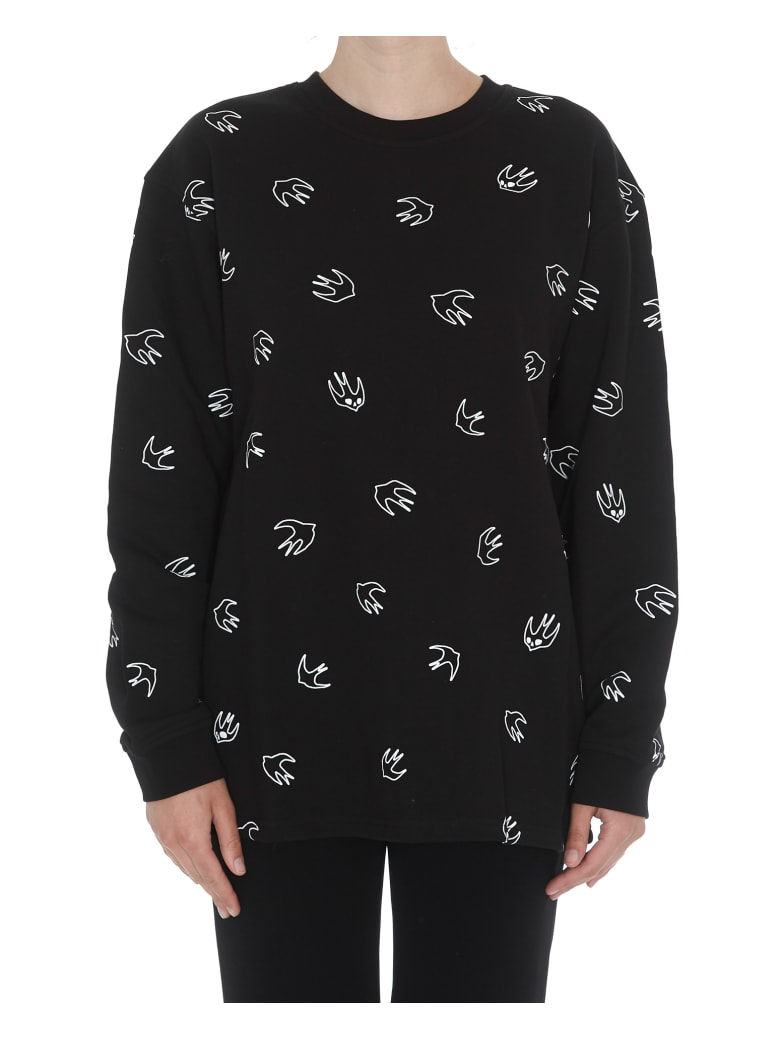 McQ Alexander McQueen Back Pleated Swallow Sweatshirt - Black