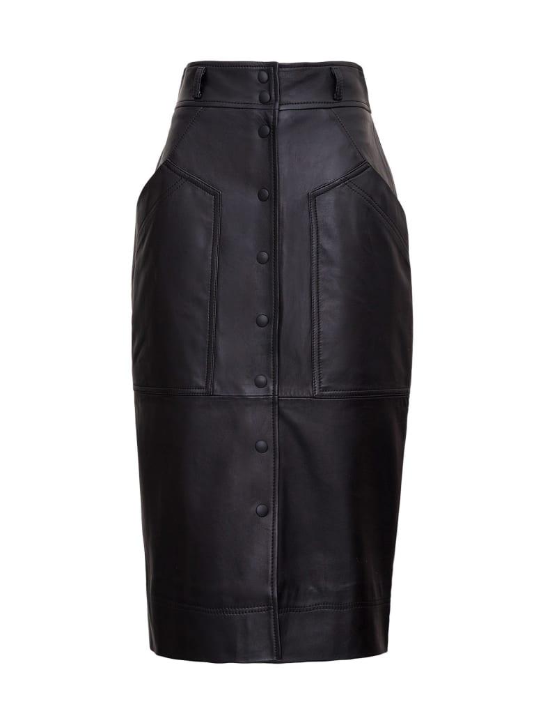 Alberta Ferretti Leather Pencil Skirt - Black