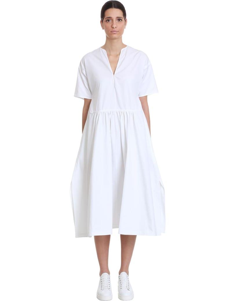 Jil Sander Marabella Af Dress In White Cotton - white