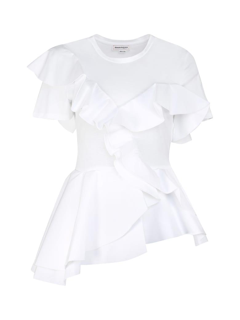 Alexander McQueen Asymmetric Ruffle Detail T-shirt - Optical white