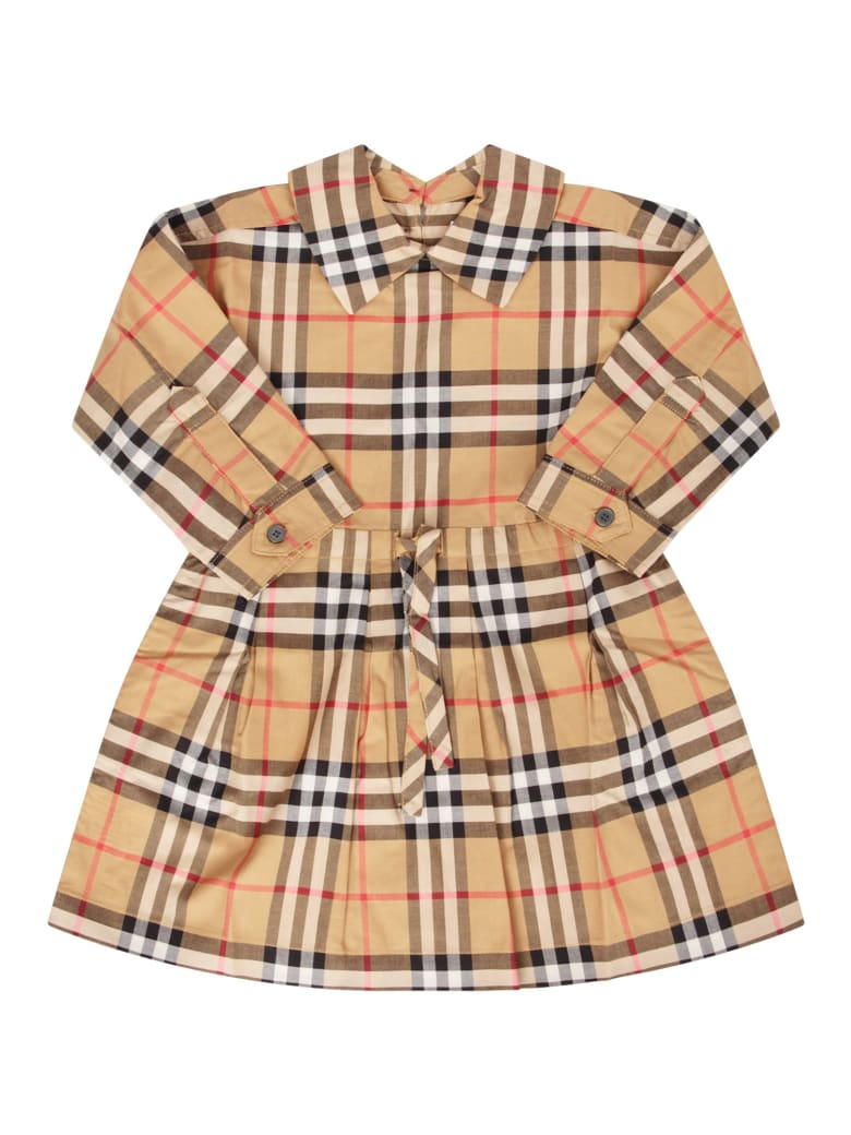 Burberry Burberry Beige Girl Dress With Coulisse -5685