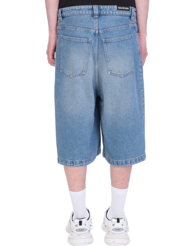 Balenciaga Shorts In Blue Denim - Blu Denim