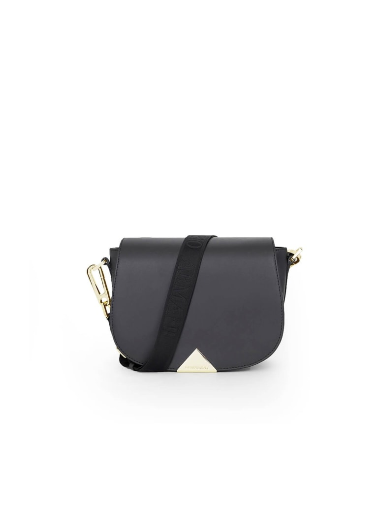 Emporio Armani Black Leather Shoulder Bag - Nero (Black)