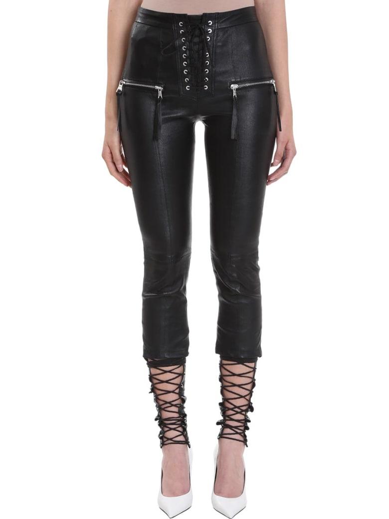 Ben Taverniti Unravel Project Plonge Skinny Lace Up Black Leather Pants - black