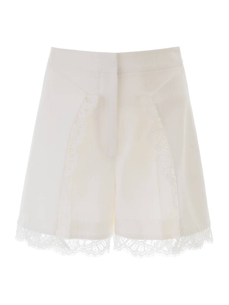 Alexander McQueen Shorts With Lace Inserts - LIGHT IVORY (White)