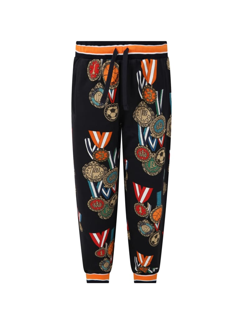 Dolce & Gabbana Blue Sweatpant For Boy With Medals - Blu scuro