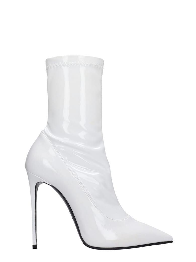 Le Silla High Heels Ankle Boots In White Patent Leather - white