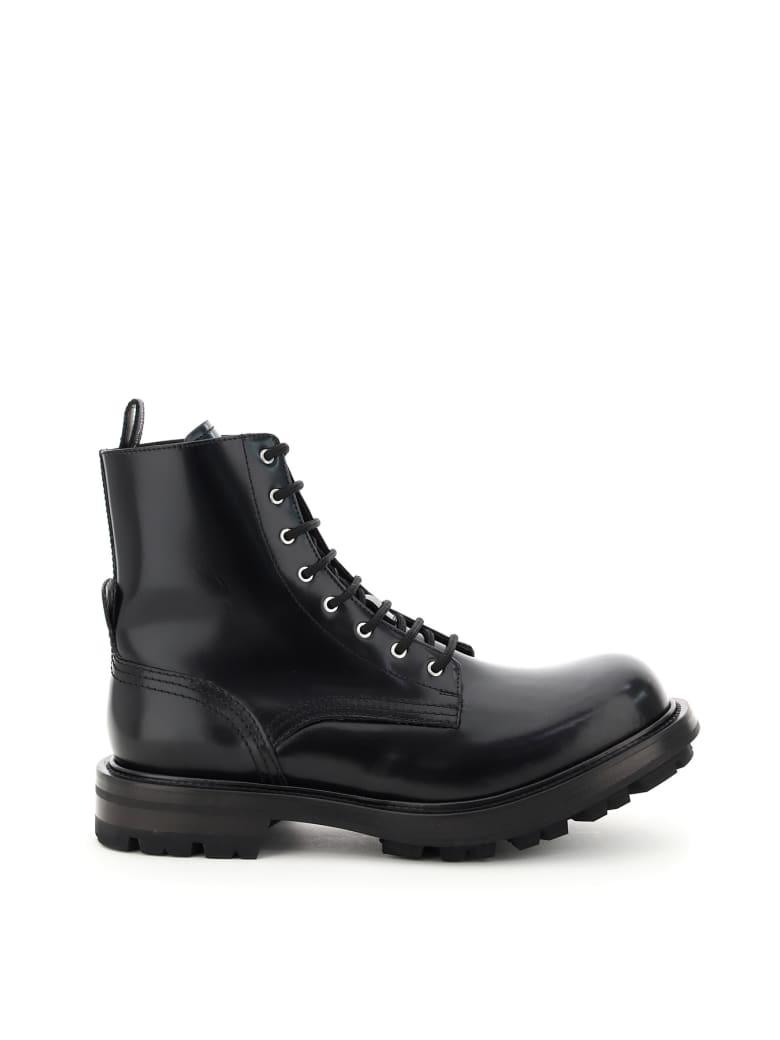 Alexander McQueen Worker Leather Boots - BLACK
